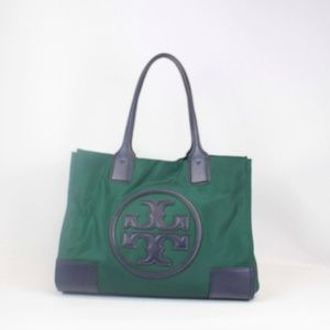 TORY BURCH Forest Green-Navy Blue Ella Tote #13226
